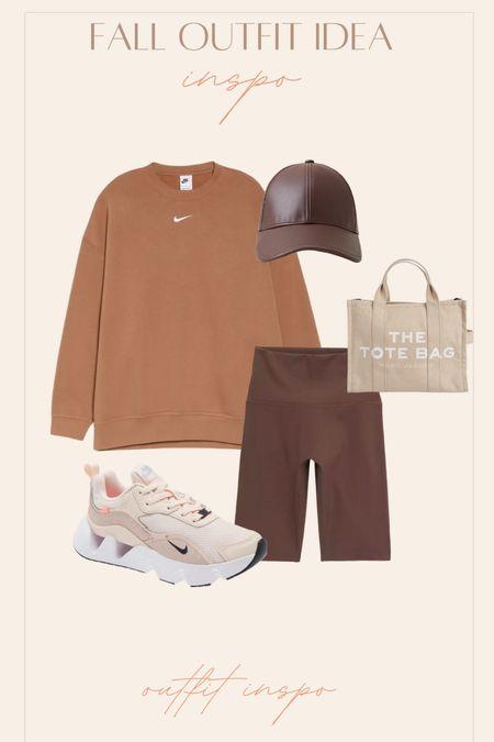 Activewear Casual outfit Neutrals Sneakers Biker shorts Tote bag   #LTKGifts #LTKshoecrush #LTKstyletip