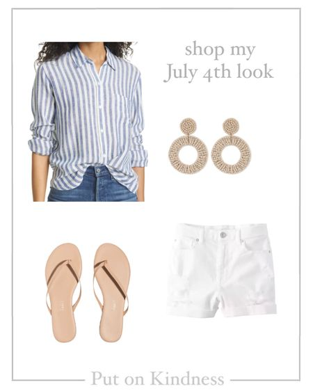 Women's blue and white striped linen button up. Neutral sandals. Tkees leather flip flops. Neutral beaded earrings. White distressed denim shorts. @liketoknow.it http://liketk.it/3j0Pd #liketkit