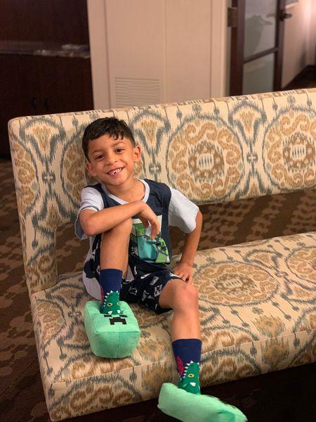 Minecraft pajamas and slippers for this little guy. #Minecraft #Pajamas #PJs #Kiddos #SummerVibes #HotelViews   #LTKkids #LTKtravel #LTKfamily