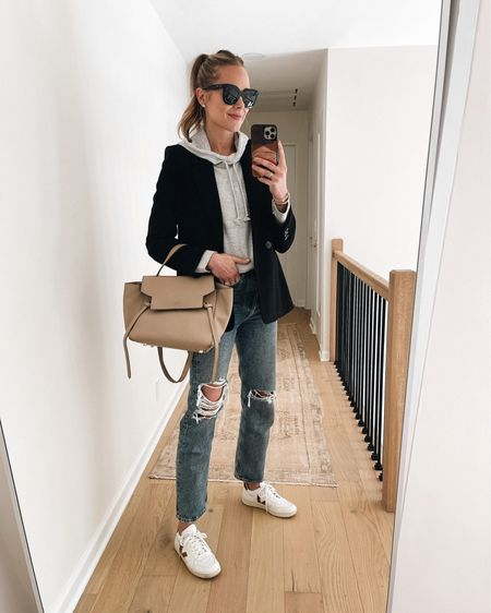 Fall capsule wardrobe, black blazer on sale! Grey hoodie sweatshirt, ripped jeans, Veja sneakers #falloutfits #capsulewardrobe   #LTKsalealert #LTKstyletip #LTKshoecrush