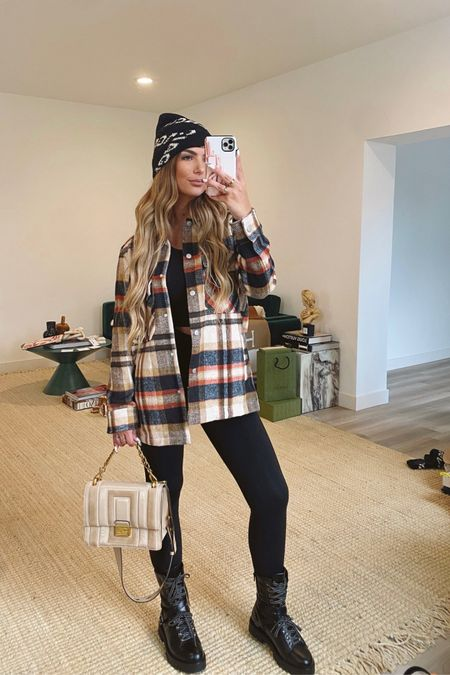 Give me all the Shackets 🙌 exact one is sold out but linked an almost identical one that I love!   Flannel, Plaid Shirt, Plaid Shacket, Combat Boots, Designer, Fendi Bag, Valentino Combat Boots, Balenciaga, Balenciaga Hat, Nordstrom, Amazon Fashion, Affordable Fashion, Affordable Style, Casual Style, Affordable Combat Boots, High & Low Style   #LTKstyletip #LTKunder50 #LTKunder100