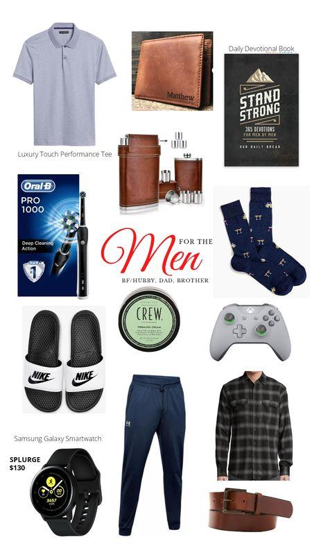 Men's Christmas Gift Guides. Gift ideas for men. Performance polo, leather wallet, devotional, flask, electric toothbrush, socks, Nike, Xbox controller, Galaxy Smartwatch, belt. http://liketk.it/31kc8 @liketoknow.it #liketkit #LTKgiftspo #LTKunder100 #LTKmens