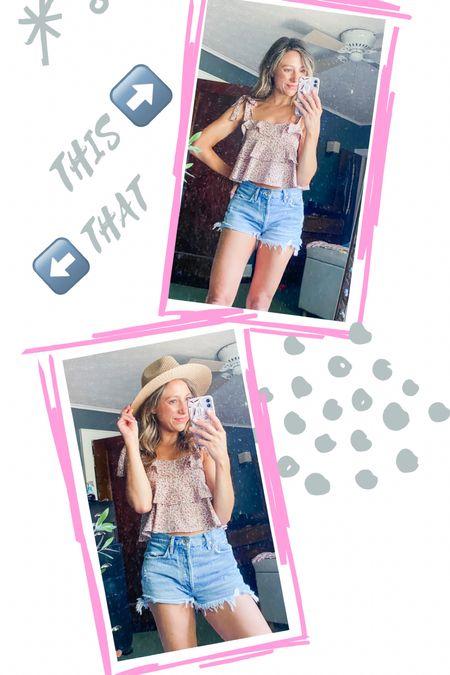 Hat or no hat?   NSale // summer outfit // denim shorts size 26 // floral top size Small   #LTKstyletip #LTKunder50 #LTKSeasonal