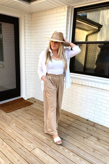 The perfect vacation outfit! These red dress wide leg tan pants are EVERYTHING! And the straw sandals with white button down, bodysuit, and straw hat   #liketkit @liketoknow.it http://liketk.it/3adbl #LTKunder50 #LTKcurves #LTKstyletip