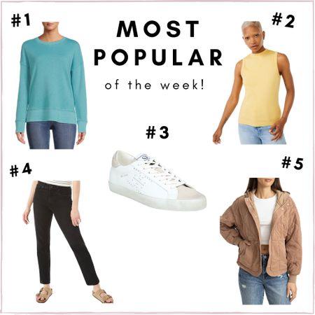 Most popular items of the week! Bestsellers - Walmart sweatshirt (tts), Walmart tank (tts), Sam Edelman sneakers (tts), black jeans (tts), quilted jacket (tts)   #LTKunder50 #LTKsalealert #LTKunder100