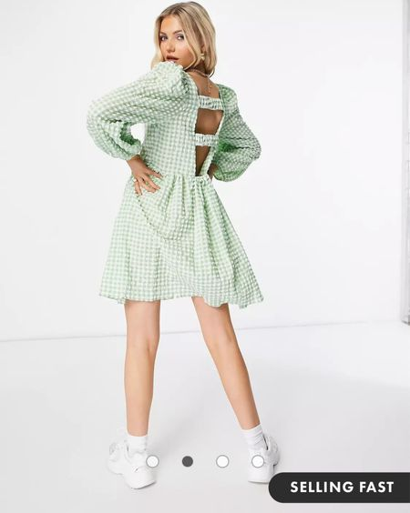 ASOS DESIGN textured mini smock dress with strappy back in green and white gingham - gingham dress - check dress - backless dress - asos dress   #LTKeurope #LTKunder50 #LTKDay