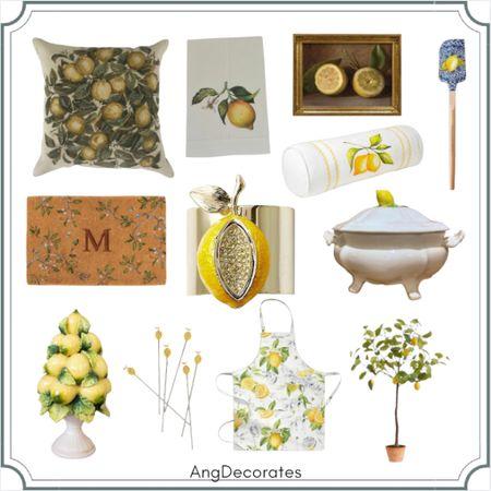 Sharing all my favorite lemon themed finds   Lemon painting lemon topiary lemon pillow lemon apron lemon napkin rings  #LTKSeasonal   #LTKhome