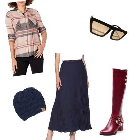 Plaid top with pleaded skirt, beanie and knee high burgundy boots.   http://liketk.it/36FzK #liketkit @liketoknow.it #LTKSeasonal #LTKstyletip #LTKshoecrush #amazonfashion #amazonfinds #plaid #pleaded #ltkvday #valentinesday