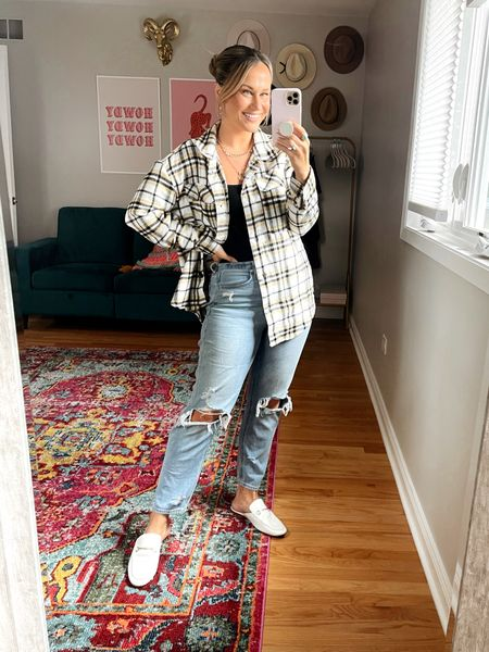 Fall outfits! This shacket is so cute and under $20, wearing a size large! My mules, gold necklaces and gold hoops are all amazon finds! These mom jeans are my favorites and this black bodysuit is a target find!   #LTKunder50 #LTKstyletip #LTKshoecrush