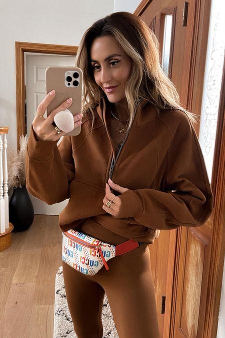 Lululemon cropped sweatshirt half zip up hoodie - size xs/s copper brown , Gucci kids belt bag under $500   #LTKitbag #LTKfit #LTKstyletip
