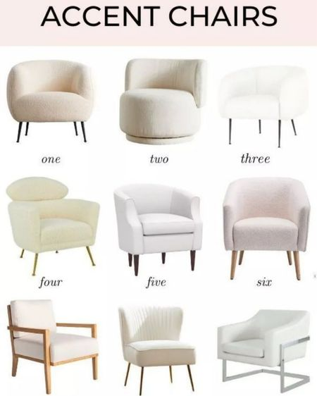 Stylish white accent chairs and white armchairs for living room decor! These can also be used for bedroom decor, home office decor and overall white home decor!#liketkit @liketoknow.it #LTKhome   #LTKstyletip http://liketk.it/3gusy
