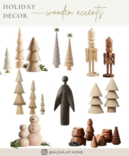 Holiday decor - wooden accents    Wooden Christmas trees, wood Christmas decor, wood angel, wooden nutcracker, natural Christmas decor , wooden decor , shelf styling decor , Christmas shelf styling   #LTKhome #LTKHoliday #LTKSeasonal