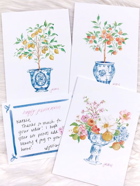 Affordable and chic watercolor art prints featuring citrus and floral designs from Simply Jessica Marie   #LTKunder50 #LTKhome #LTKSeasonal