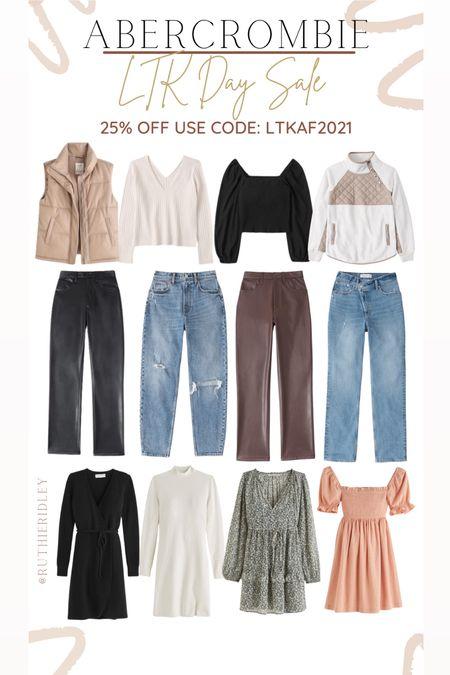 Abercrombie 25% Off LTKAF2021🙌🏾🙌🏾 Abercrombi LTK sale jeans faux leather pants dresses ruched dresses Sweater Dresses Sweaters blouse  #LTKSale #LTKstyletip #LTKunder100
