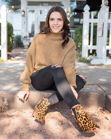 Fall outfit, leopard booties, Amazon Fall sweater, black distressed skinny jeans, boots   #LTKstyletip #LTKunder50 #LTKunder100