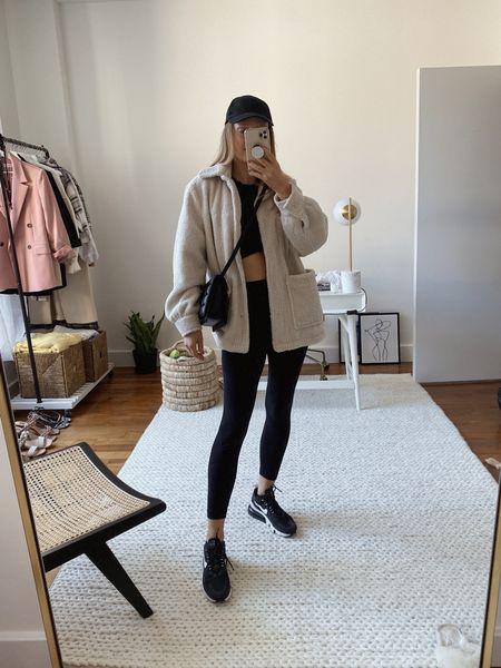 Casual Sunday activewear outlet with Lululemon align leggings and an oversized shirt jacket - bag and cap are both 20% off today!   #LTKfit #LTKsalealert #LTKunder50