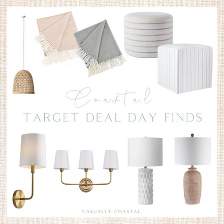 Target Deal Days is running through tomorrow (Tue, 10/12) and there is some great lighting, furniture and home decor pieces on sale!  - Target deal days, Target home, Target finds, Target decor, Target home decor, home decor, coastal decor, beach house decor, beach house furniture, beach decor, beach style, coastal home, coastal home decor, coastal decorating, coastal interiors, coastal house decor, beach style, blue and white home, blue and white decor, neutral home decor, neutral home, natural home decor, white lamps, wall sconces, gold wall sconces, wall sconces with white shade, resin lamps, seagrass pendant lights, coastal lighting, coastal lamps, upholstered cubes, throw blankets, herringbone throw blankets, cubes for living room, foot rest, upholstered ottomans, neutral ottomans  #LTKhome #LTKunder100 #LTKsalealert