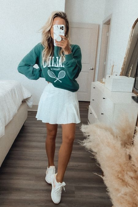 Small sweater  Xs skirt White Nike sneakers  #LTKshoecrush #LTKsalealert #LTKfit