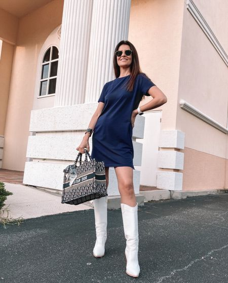 Easy T-shirt dress and boots ✨ #effortless #casualchic #ootd #saintandsofia x #sofrenchbynaty    #LTKworkwear #LTKeurope #LTKSeasonal