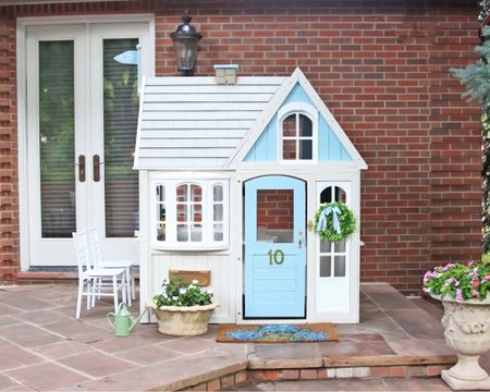 """I couldn't wait to share! 💙 Georgie's sweet little playhouse is built and ready for use! Her daddy built this for her and it has been such a joy to see her get excited over """"Gigi's house"""" each day. I can work on a blog post detailing the sanding, paint, and details if you're interested! xo @liketoknow.it http://liketk.it/3l2xu #liketkit #LTKbaby #LTKfamily #LTKhome #LTKkids #playhouse #DIY"""