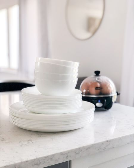 My modern dinnerware | love it!! It's cheap, a space-saver, wears well, + had a great modern design if you like the look of crisp white. Also, linked my wall mirror + fav egg maker! 🍽🥚🤍 http://liketk.it/2Nvqu #liketkit @liketoknow.it