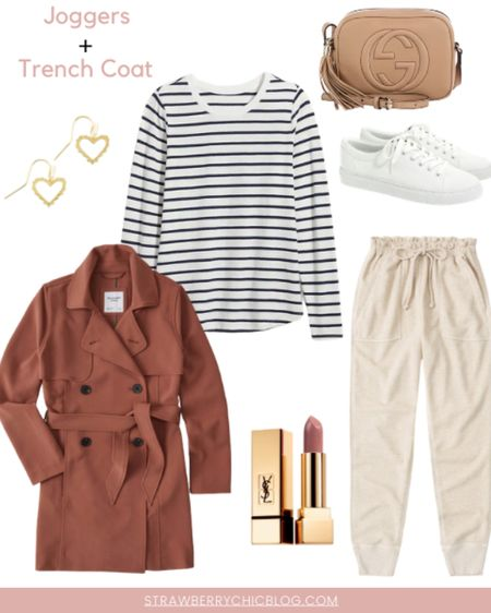 How to style joggers // casual fall outfit // comfy fall outfit // white sneakers // trench coat // striped basic tee    http://liketk.it/2XDoK #liketkit @liketoknow.it #StayHomeWithLTK