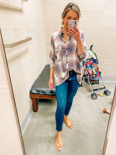 NSale // Nordstrom // plaid shirt // flannel shirt // denim // good American denim // good waist // crop skinny jeans // cropped jeans  #LTKsalealert #LTKSeasonal #LTKstyletip