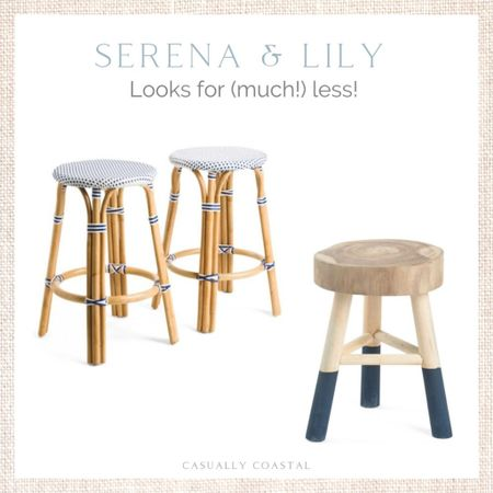 Loving these Serena & Lily-esque stools, but at a much more affordable price point! - coastal decor, beach house decor, beach decor, beach style, coastal home, coastal home decor, coastal decorating, coastal interiors, coastal house decor, home accessories decor, coastal accessories, beach style, blue and white home, blue and white decor, neutral home decor, neutral home, natural home decor, blue nightstand, navy nightstand, serena & lily dupe, riviera dupes, backless stools, bistro stools, counter stools, dipped stool, marshalls finds, tj maxx finds  #LTKhome #LTKunder100 #LTKunder50
