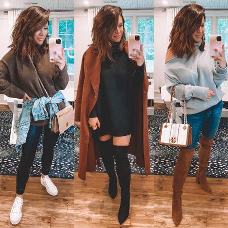 @liketoknow.it http://liketk.it/3k39h #liketkit #LTKsalealert #LTKstyletip #LTKshoecrush  .. Nsale, fall outfits, otk boots, casual outfit, airport style, crossbody handbag, sweater