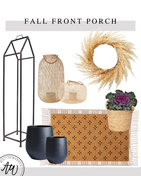 Fall front porch, pumpkin tower, log holder, Amazon Home finds, black planter, scatter rug, doormat, Hearth & Hand by Magnolia at Target, wheat wreath, front door, porch, rattan lantern, outdoor lanterns, woven basket  #LTKhome #LTKSeasonal