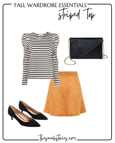 FALL ESSENTIALS: STRIPED TOP // Puff sleeved top outfit idea, suede mini skirt, black kitten heels, black envelope handbag clutch      #LTKstyletip