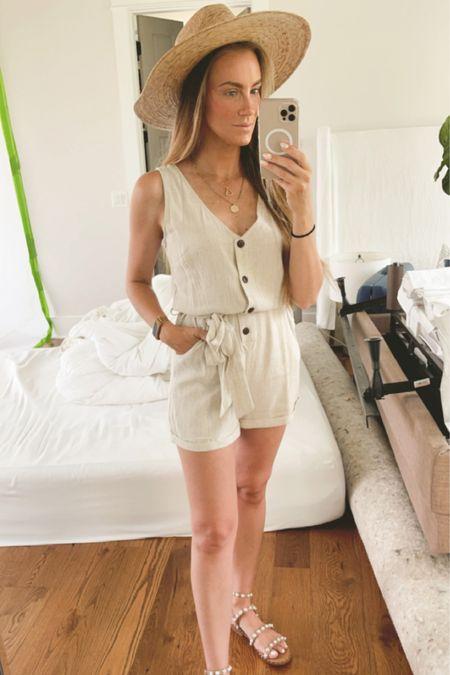 Farmers market Saturday summer outfit. Amazon romper under $30, wearing size: small. Steve Madden Pearl gladiator sandals. @liketoknow.it #liketkit #LTKunder50 http://liketk.it/3hsJF