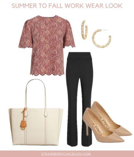 Summer to fall work wear look- pair pants with a cute top and heels   #LTKstyletip #LTKshoecrush #LTKSeasonal