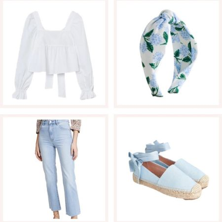 Blue and white casual spring outfit! Affordable white bow back H&M blouse, light wash straight-leg jeans, hydrangea headband, and pale blue espadrilles. @liketoknow.it #liketkit #LTKunder50 #LTKunder100 #LTKstyletip http://liketk.it/3e7Vx