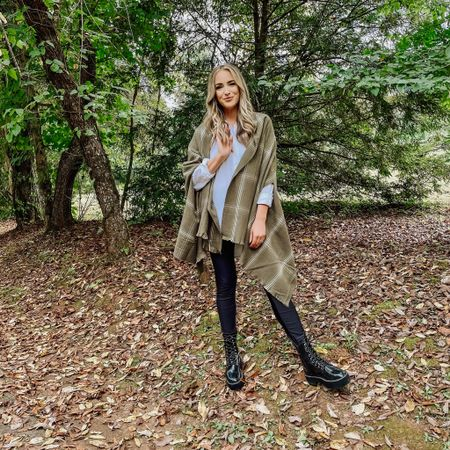 100% EASIEST / FAVORITE FALL LOOK! A wrap jacket / sweater poncho is always a fall essential in my book. This Target find is SO GOOD and I styled it today with a basic, white button up, black leggings, and combat boots. This look, and ones similar will be on REPEAT all season long, and that's a promise. Wraps like this one allow you to dress more chic and polished, or edgier and casual. I love how versatile this piece will be this season. Shop #outfitdetails below!    #LTKSeasonal