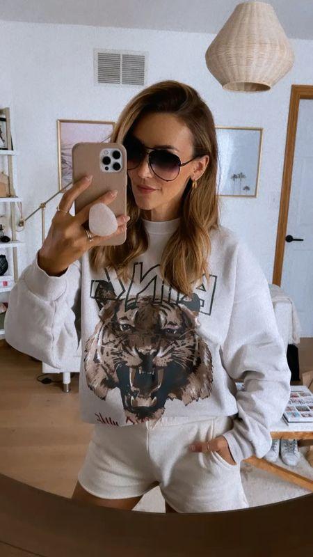 Tiger sweatshirt sized up to a medium for a slouchier look - sweat shorts amazing drop find, aviator sunnies Nordstrom under $70   #LTKstyletip #LTKunder100 #LTKSeasonal