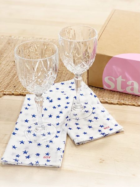 I am using my new star napkins as cocktail napkins and dinner napkins. They are inexpensive and fun! I had our last name embroidered on them in bright red. Having something special like this around differentiates your hosting when guests arrive 👯♀️  #LTKunder50 #LTKhome #LTKwedding