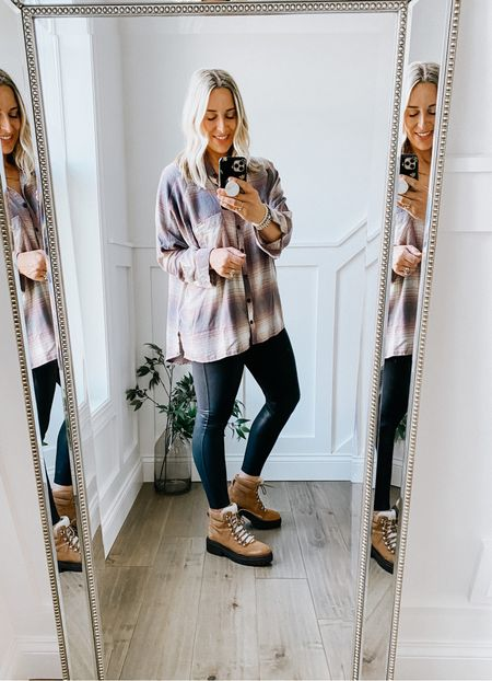 Nordstrom Anniversary Sale  Plaid oversized flannel - so incredibly soft, thin and moveable. Dolman sleeve, boxy cut. Longer in the back. Great with leggings.   Spanx Faux leather leggings   Marc Fisher boots - Nairy lace up bootie - so comfortable and warm! Run true to size.     #LTKstyletip #LTKsalealert #LTKshoecrush