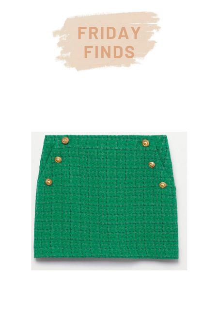 Mango green tweed skirt   #LTKstyletip #LTKSeasonal