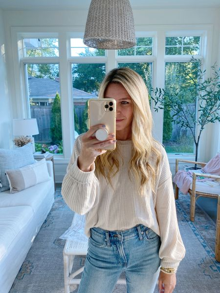Coziest $24 waffle knit top!! Seriously so soft, and just slightly cropped so super easy to tuck!! I snagged this one in 2 colors!   #fallfashion #walmartfinds   #LTKunder50 #LTKstyletip