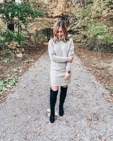 🍁Loving everyone's costumes this year! I wasn't able to snap a pic of my costume but swear I was dressed as a unicorn🦄 today. As a way to repay you, here's another awesome sweater dress find in the coolest knit with one of my fav OTK boots on the planet!  Shop all my looks on shoppedtilshedropped.com or in the LIKEtoKNOW.it app - simply download the app, give me a follow or screenshot one of my IG pics to shop! http://liketk.it/2Gp7Q #liketkit @liketoknow.it
