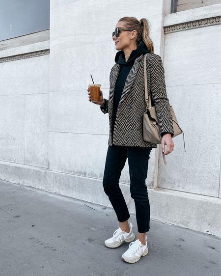 Casual weekend fall outfit #blazer #sweatshirt #veja #sneakers #falloutfit   #LTKstyletip #LTKunder100 #LTKshoecrush