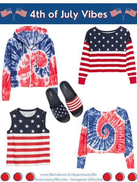 50% off 4th of July looks  4th of July looks, 4th of July outfits, patriotic outfits, patriotic tees, Stars and Stripes tee, Stars and Stripes tank top, summer look, summer outfit, vacation outfits, vacation looks, red and blue tie dye hoodie, Stars and Stripes pool slides, sandals, old navy    http://liketk.it/3i0cm #liketkit @liketoknow.it #LTKsalealert #LTKstyletip #LTKunder50 #LTKseasonal #LTKsummer #LTKholiday