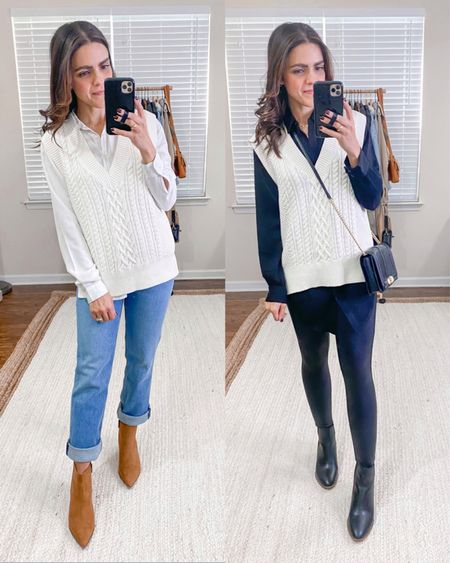 Fashion capsule week 3: ways to style a sweater vest: white button down, 90s jeans, cognac booties, black button down tunic top, faux leather leggings, black boots, Rebecca Minkoff crossbody  #LTKunder100 #LTKstyletip