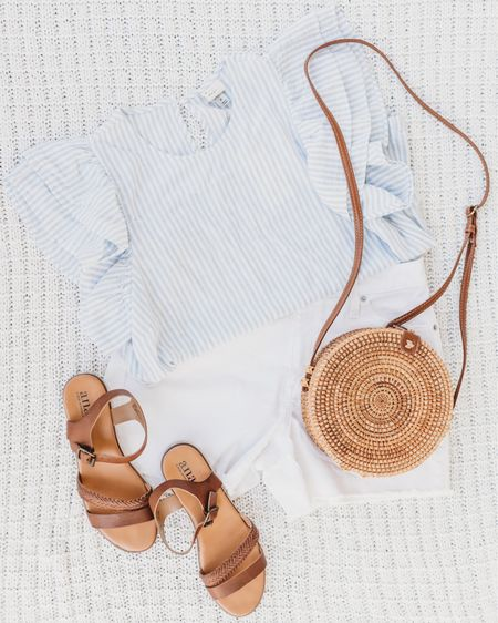 Summer casual. summer outfit. Weekend outfit.  Ruffle sleeve linen top with white denim shorts, cognac sandals and rattan bag.    http://liketk.it/3jiwp #liketkit @liketoknow.it #LTKunder50 #LTKshoecrush #LTKtravel