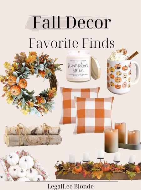 Fall decor finds! 🍂🍁 Cozy up your home with these affordable fall decorations! - fall home decor - fall wreathes - fall wreath - fall candle - fall mug - fall coffee mug - fall candles - faux pumpkins - white pumpkins - amazon fall decor   #LTKhome #LTKunder50