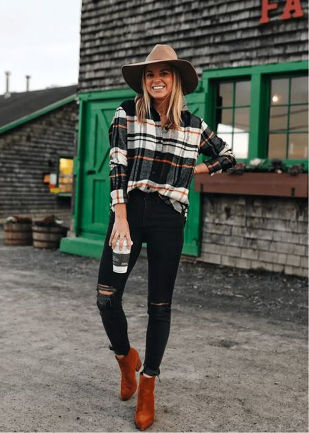 Casual Fall Outfit // flannel (size small) // denim (sized down 1) // 20% off + take an additional $25 off $150 with code LTK25   #LTKstyletip #LTKSeasonal #LTKSale