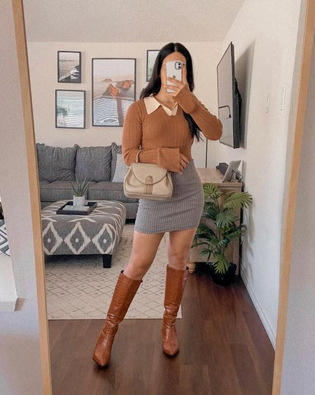 Get 15% off SHEIN with code: Q3YGJESS  Collar long sleeve top, houndstooth mini skirt, knee high boots, beige purse, preppy style, trendy style, fall outfit, fall outfits   #LTKSeasonal #LTKunder50 #LTKshoecrush