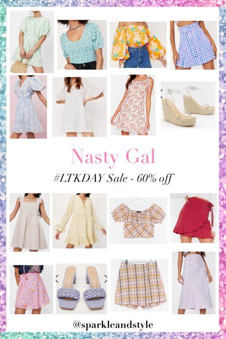 LTK Day Sale: Nasty Gal - 60% off    http://liketk.it/3hqBb @liketoknow.it #liketkit #LTKDay #LTKunder100 #LTKsalealert   Summer fashion, summer clothes, summer styles, summer dresses, summer shoes, summer shorts, summer skirts, summer tops, gingham dress, floral top, off the shoulder top, gingham skirt, star print dress, floral dress clear espadrille wedges, plaid gingham set, polka dot wrap skirt, floral wrap skirt, braided block heels, slip midi skirt