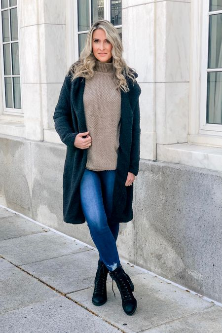 #liketkit @liketoknow.it http://liketk.it/2GENR #LTKstyletip #LTKsalealert #LTKshoecrush fall outfit winter outfit teddy jacket Sherpa jacket turtleneck sweater black boots